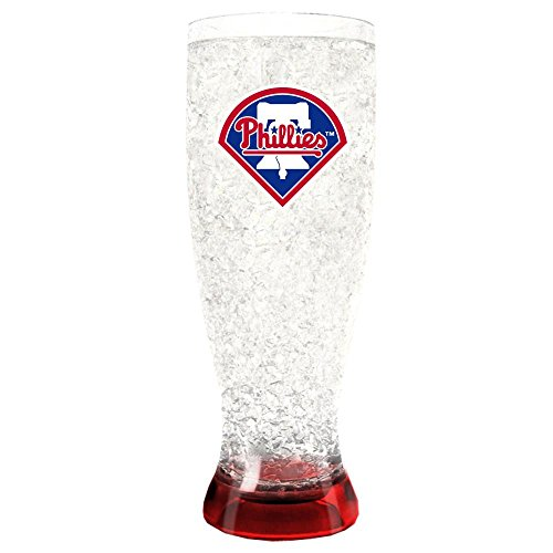 (Duck House 1 Pc, Philadelphia Phillies Pilsner Crystal Freezer Style, 16oz, Plastic Glass, Eye Catching Crystals, Color Coordinating Base)