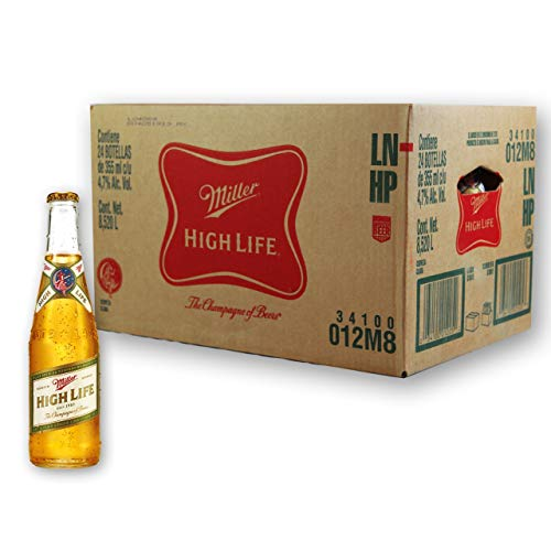Cerveza Miller High Life - Caja con 4 Canastillas de Six Packs de 355 ml