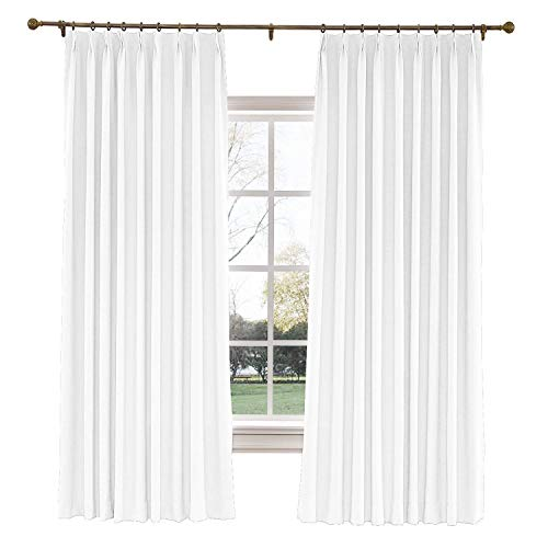 (TWOPAGES 100 W x 84 L inch Pinch Pleat Darkening Drapes Faux Linen Curtains Drapery Panel for Living Room Bedroom Meetingroom Club Theater Patio Door (1 Panel),White)
