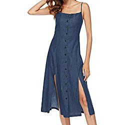 Neekey Dress For Summer Women S Vintage Solid Sleeveless Strappy Summer Beach Cowboy Swing Camis Dress Blue