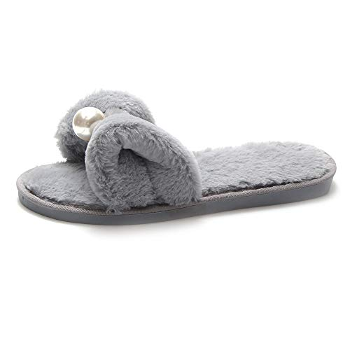 Home Heel Open Women's 08041 Slip Toe Flat LJXY Anti House Gray Cotton Indoor Slipper Bowknot Prime KJJDE 7rz7Oqw