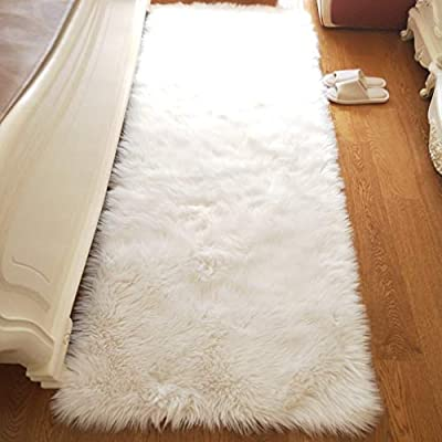 Noahas Luxury Fluffy Rugs Bedroom Furry Carpet Bedside Sheepskin Area Rugs Children Play Princess Room Decor Rug, 2ft x 6ft White - Unbelievable soft touch : Features 2.8 inch long and thick pile, this flowy shag rug is a great addition to cold bare floors, provide you an ultra soft luxury touch feeling. Professional Material: The superior eco-friendly artificial animal wool, it's not shedding. Not only does the seat cushion add fashion to your home, it also massages with its thicker, softer, more comfortable feel. Hypo-allergenic and Non-toxic: This extremely soft sheepskin carpet does not contain any toxic material, and hypoallergenic propery of this area rug makes it perfect for people with sensitive skin or allergies. - runner-rugs, entryway-furniture-decor, entryway-laundry-room - 41AI5OuUwbL. SS400  -