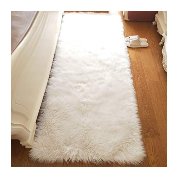 Noahas Luxury Fluffy Rugs Bedroom Furry Carpet Bedside Sheepskin Area Rugs Children Play Princess Room Decor Rug, 2ft x 6ft White - Unbelievable soft touch : Features 2.8 inch long and thick pile, this flowy shag rug is a great addition to cold bare floors, provide you an ultra soft luxury touch feeling. Professional Material: The superior eco-friendly artificial animal wool, it's not shedding. Not only does the seat cushion add fashion to your home, it also massages with its thicker, softer, more comfortable feel. Hypo-allergenic and Non-toxic: This extremely soft sheepskin carpet does not contain any toxic material, and hypoallergenic propery of this area rug makes it perfect for people with sensitive skin or allergies. - runner-rugs, entryway-furniture-decor, entryway-laundry-room - 41AI5OuUwbL. SS570  -