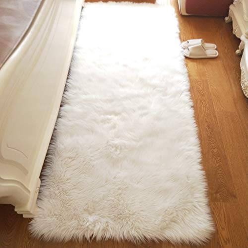 Noahas Luxury Fluffy Rugs Bedroom Furry Carpet Bedside Sheepskin Area Rugs Children Play Princess Room Decor Rug, 2ft x 6ft White