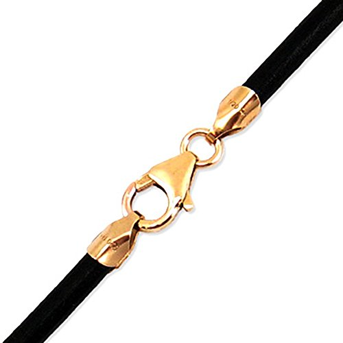 4mm Black Leather Cord with 14k Gold Filled Clasp 18