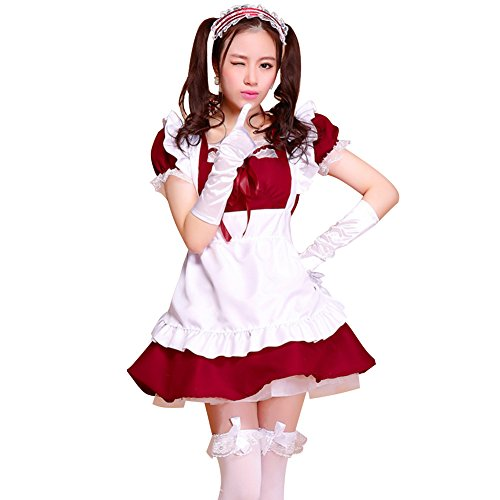 LPATTERN Women's Adult Anime Cosplay French Maid Apron Fancy Dress Costume, Wine Red, S]()