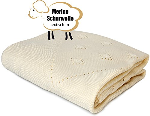 anket 100% Organic Extra Fine Merino Wool (35.5 inch x 31.5 inch). Made in Germany. (Infant Wool Blankets)