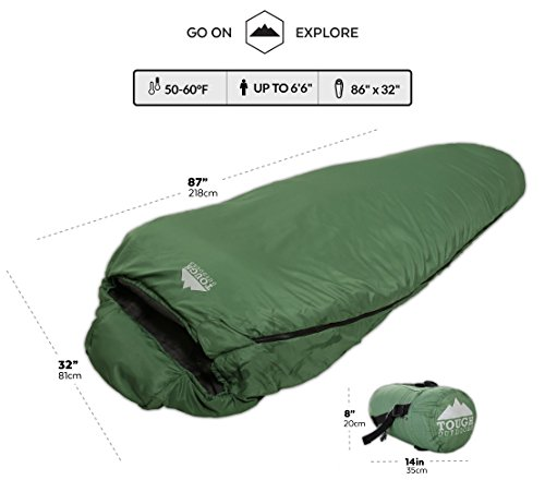 "Mummy Sleeping Bag with Compression Sack - Winter Sleeping Bag for Camping, Hiking, Backpacking & Travel - Waterproof, Compact and Ultralight Cold Weather Sleeping Sack for Adults up to 6'6 5 REST ASSURED. Immerse in a multitude of stars in the night sky! Then rest where you hear nothing but the winter wind. Now that's a 5 (billion or more!) star accommodation. Finally, get lost in a warmth that will leave you sleeping way past your alarm clock. Be warned though, the snooze button will be ignored with this sleeping bag... and waking up at lunch. FIT FOR A KING. Pharaohs boast of grand things. Look no further than the pyramids. Don't believe us? Let's not forget those big and tall coffins they fill when Osiris calls them. However, with this mummy sleeping bag, you get 6'6 ""fit for a king"" size. *Ceremonial wrapping cloth not included, of course*. Go ahead, sleep (and wake up) like royalty. YOU'VE BEEN ""WARMED"". This bag is perfect for summer camping with a temperature rating of 60F+."