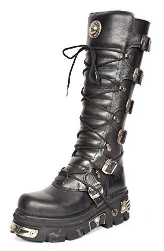 House Of Leather New Rock Ladies Knee Length Leather Boots Lace up Platform Buckle Feature Black