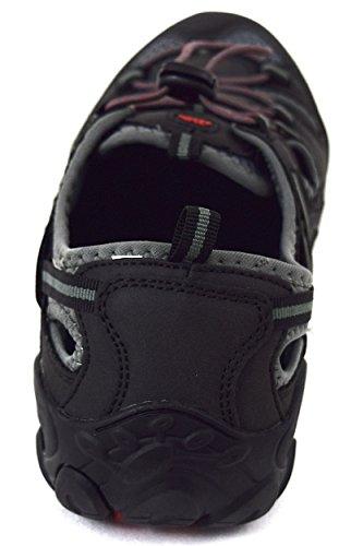 Herren Leder Trekking Sandalen Wanderschuhe Outdoor-Sandalen mit Gummizug, herausnehmbare Wechselsohle, Laufsohle: Gummi, Farbe: Schwarz/Grau Gr. 40-46