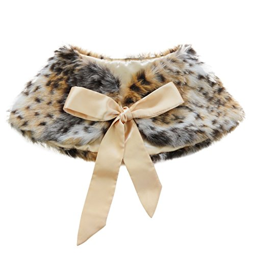 (MSemis Girls Princess Faux Fur Flower Bolero Shoulder Cape Bridesmaid Party Shawl Stole Shrug Leopard Print One)
