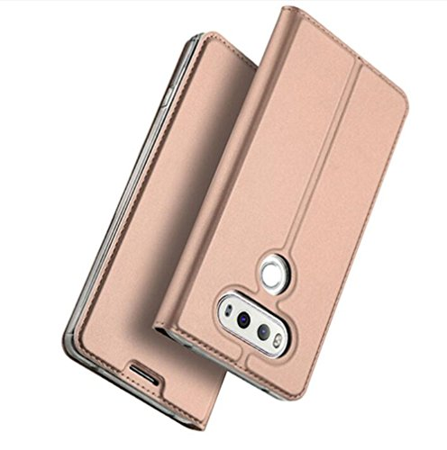 LG G6 Leather Case, Tip-top Pu Leather Flip Wallet Case Cover for LG G6 (Verizon 2017) with Stand Function and Card Slot£¨Rose Gold£