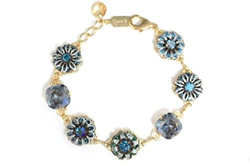 Clara Beau Grand Blue Shade Swarovski crystal Cluster Bracelet BF48 -