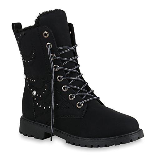 Stiefelparadies Warm Gefütterte Damen Stiefeletten Worker Boots Kunstfell Schuhe Flandell Schwarz Noir Berkley