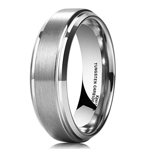 King Will Basic Men's 7mm Tungsten Carbide Ring Diamond Finish Matte Wedding Engagement Band 8 ()