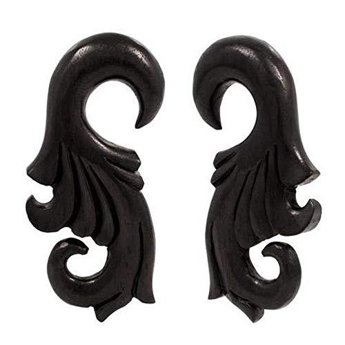 Pair | Intricate Areng Wood Organic Hanger Body Jewelry | 4g | - Organic Jewelry Hanger Intricate