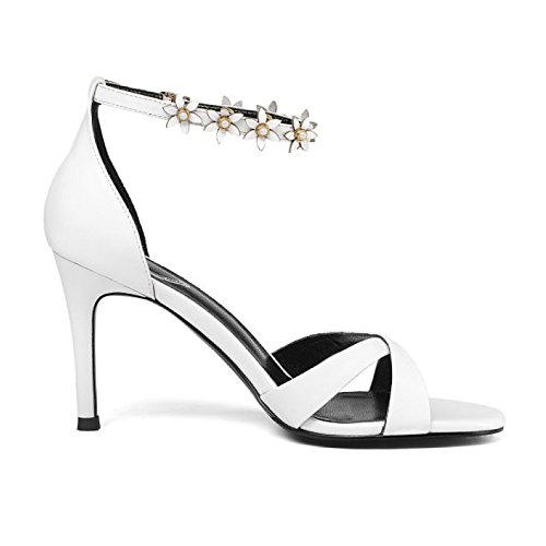 Corte Tobillo Sexy Mujeres Las Del Cuero White Verano Zapatos Vestido Sandalias Bomba Correa Fiesta La Boda Alto De Tacón v7qHBx