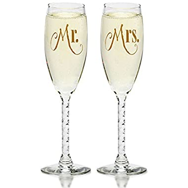 Smart Tart Mr. & Mrs. Gold Wedding Champagne Flutes, Elegant Toasting Glasses