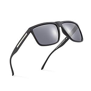 2020Ventiventi Classic Polarized Sunglasses for Men Oversized Square Lens Full Frame 57mm UV400 Protection for Fishing PL207C02 (Black,Smoke)
