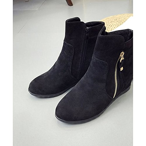 otoño de Confort botas rojo Calf Zapatos PU moda Black invierno casual caqui planas for Toe botas de HSXZ negro Mid botas tacón mujer y Ronda 0I5zqwqF
