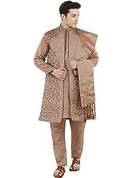 SKAVIJ Men's Embroidered Kurta Pajama Jacket and Stole Set (Brown, X-Large)