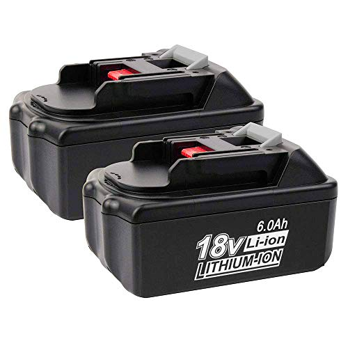 18V 6.0Ah BL1860 for Makita Replacement Battery, Lithium-ion Extended Battery for Makita BL1830 LXT-400 BL1840 BL1815 BL1835 BL1845 194204-5 2PACK