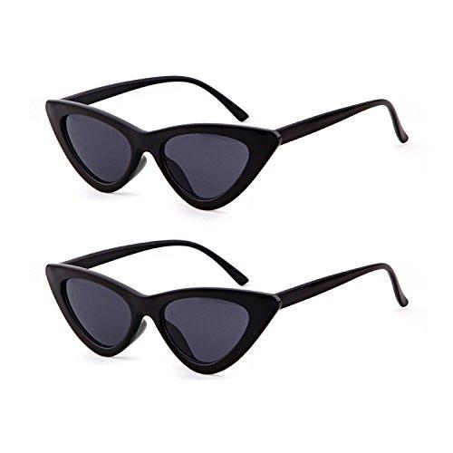 Gafas gato niñas 2 de sol de Pcs de Gafas Kurt 1 Cobain estilo de retro mujeres ojo para Black sol protección de gafas vintage ADEWU 4WqX6Fn