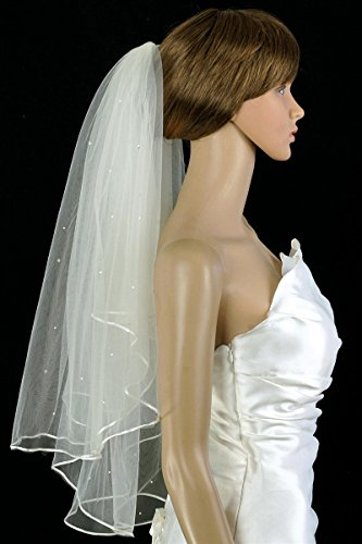 Bridal Veil Diamond (Off) White 2 Tiers Elbow Length With Scattered ()