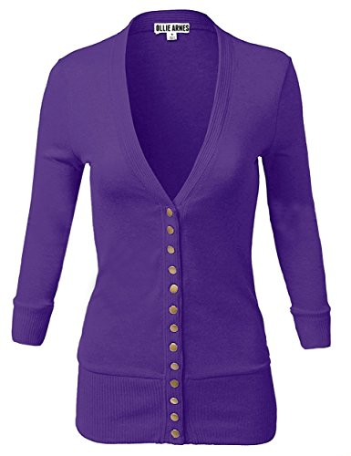 OLLIE ARNES Women's 3/4 Sleeve Cardigan With Snap Button Closure 9_PURPLE L