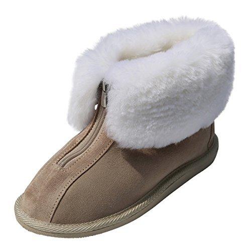 Hollert avec Peau de Mouton Chaussons - Cuir Alaska avec Unisexe Chaussons Chaussures avec Laine Peau de Mouton Cuir Véritable Chaussures avec Fermeture éclair Beige 23205db - shopssong.space