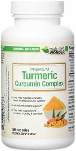 Nature's Wonder Premium Turmeric Curcumin Complex 500mg Capsules 180 Count