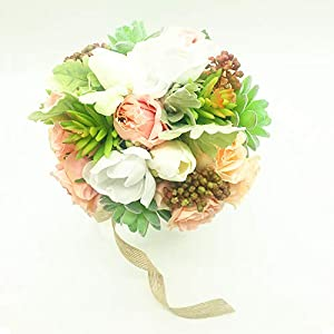 Yokoke Wedding Bridal Bridesmaid Bouquet Wedding Holding Flower Artificial Peony Rose Green Succulent Berry for Wedding Church Party Home Decor 117
