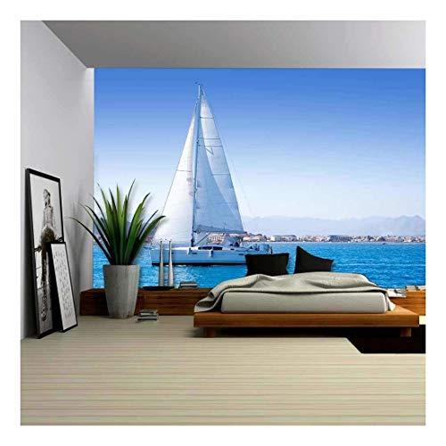 (wall26 - Sailboat Sailing in Mediterranean Sea in Denia Blue Mediterranean - Removable Wall Mural | Self-Adhesive Large Wallpaper - 66x96 inches)