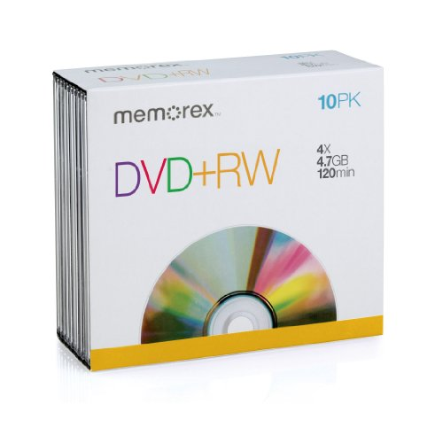 Memorex MEM05509 DVD plus RW 4.7GB Slim 4x Discs, 10 Pack