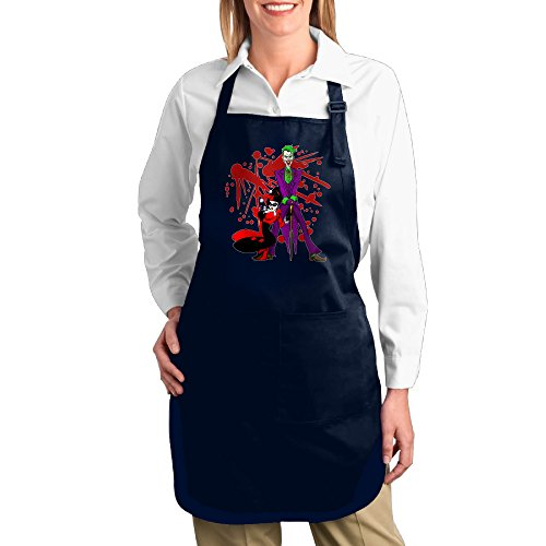 Harley Quinn And Joker Cartoon Unisex Kitchen Cooking Grilling Apron Navy (Dc Comics Create Your Own Superhero)