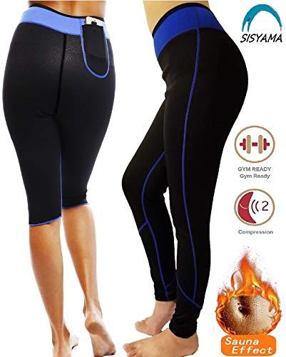 SISYAMA Anti Cellulite Weight Loss Hot Slimming Sweat Sauna Neoprene Long Pants (Blue/Pants, Large)