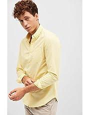 BlueAge Shirt for Men, Size M, Yellow