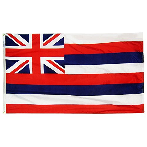 Hawaiian Flag (Hawaii State Flag 3x5 ft. Nylon SolarGuard Nyl-Glo 100% Made in USA to Official State Design Specifications by Annin Flagmakers.  Model 141260)