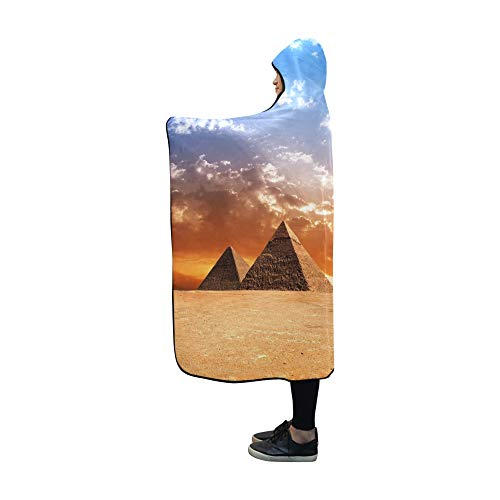 YUMOING Hooded Blanket Egypt Pyramid Historic Buildings Panorama Blanket 60x50 Inch Comfotable Hooded Throw Wrap