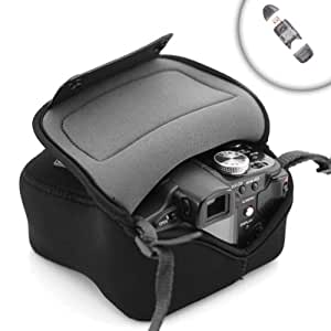 Flex Armor Protective Camera Case for PANASONIC LUMIX DMC GF1 / GF2 / GF3 with attached lenses up through 14-45mm zoom ** Includes 4 and 1 Cardreader**