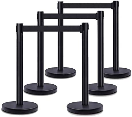 DuraSteel VIP Series Standard Rope Barriers – 6 Pcs Set Heavy Duty Black Tuff Tex Crowd Control Stanchions – 36″ H with 6.5 Feet Black Retractable Belt