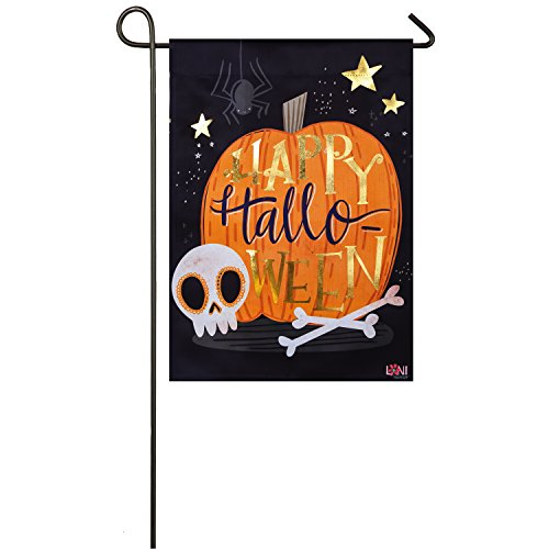Evergreen Halloween Skull Outdoor Safe Double-Sided Suede Garden Flag, 12.5 x 18 inches ()