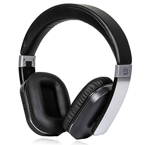 Active Noise Cancelling Bluetooth Headphones Wireless Canceling Microphone Low Bass Response APTX Hi-Fi Audio Over Ear Protein Ear Pads Foldable Hard Case Travel Work Computer TV Sports Steel Black