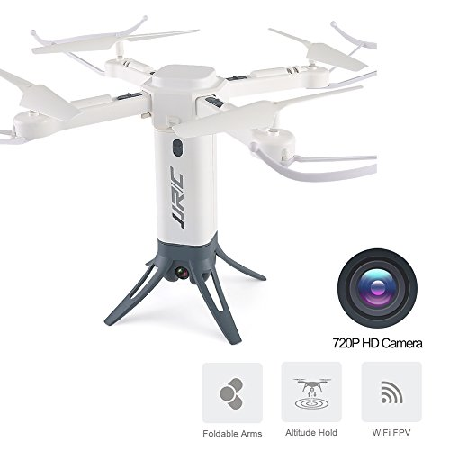 Price comparison product image BTG JJRC H51 Rocket 360 Foldable WIFI FPV Selfie Drone - 720P HD Camera,  Altitude Hold,  Flight Planning,  360 Degree Circling Photography,  One Key Gigh Speed Rotation,  Headless Mode (White)
