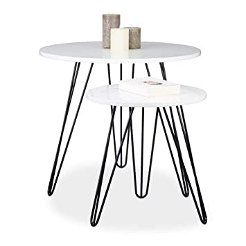 Remarkable Relaxdays Set Of 2 Side Tables Round 3 Legs Wood Metal Download Free Architecture Designs Rallybritishbridgeorg