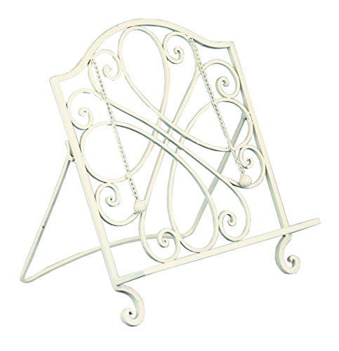 Red Co. Decorative Cast Iron Cook Book Stand and Art Holder Easel in White Finish - 15