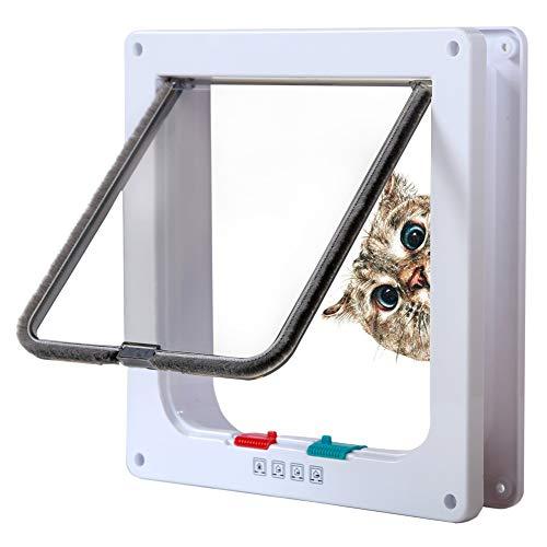 Rikounan Cat Door with 4 Way Locking, Quiet Pet Doors for Cats, Large Cat Doors for Interior Exterior Doors, Easy Installation Premium Cat Flap Door for Cats Small Dogs