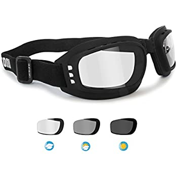 299a2227d1b Motorcycle Goggles Riding Padded Glasses Photochromic Antifog - Adjustable  Strap - Ventilated - Bertoni Italy F112A Motorbike Goggles
