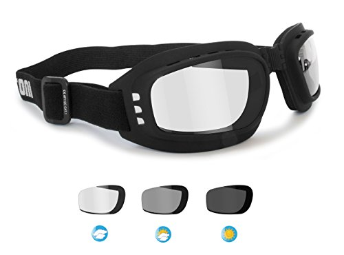 - Motorcycle Goggles Riding Padded Glasses Photochromic Antifog - Adjustable Strap - Ventilated - Bertoni Italy F112A Motorbike Goggles