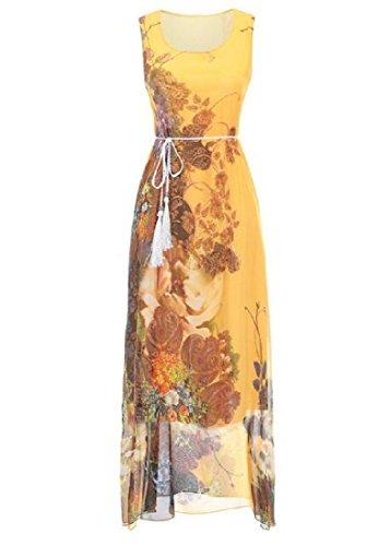 Coolred-femmes En Mousseline De Soie Robe Maxi Imprimé Boheme Robe D'été Jaune Été